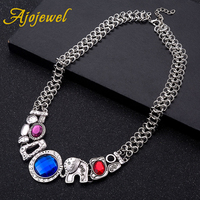 Ajojewel Coloful Crystal Elephant Necklace Charm Statement Jewelry Women Choker Necklace Wholesale