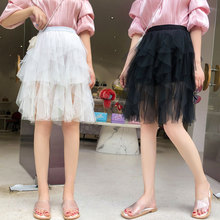 Summer 2019 Korean Streetwear Style Women Elastic Waist High Nude Tutu Skirts Black Irregular Tulle Short Skirt