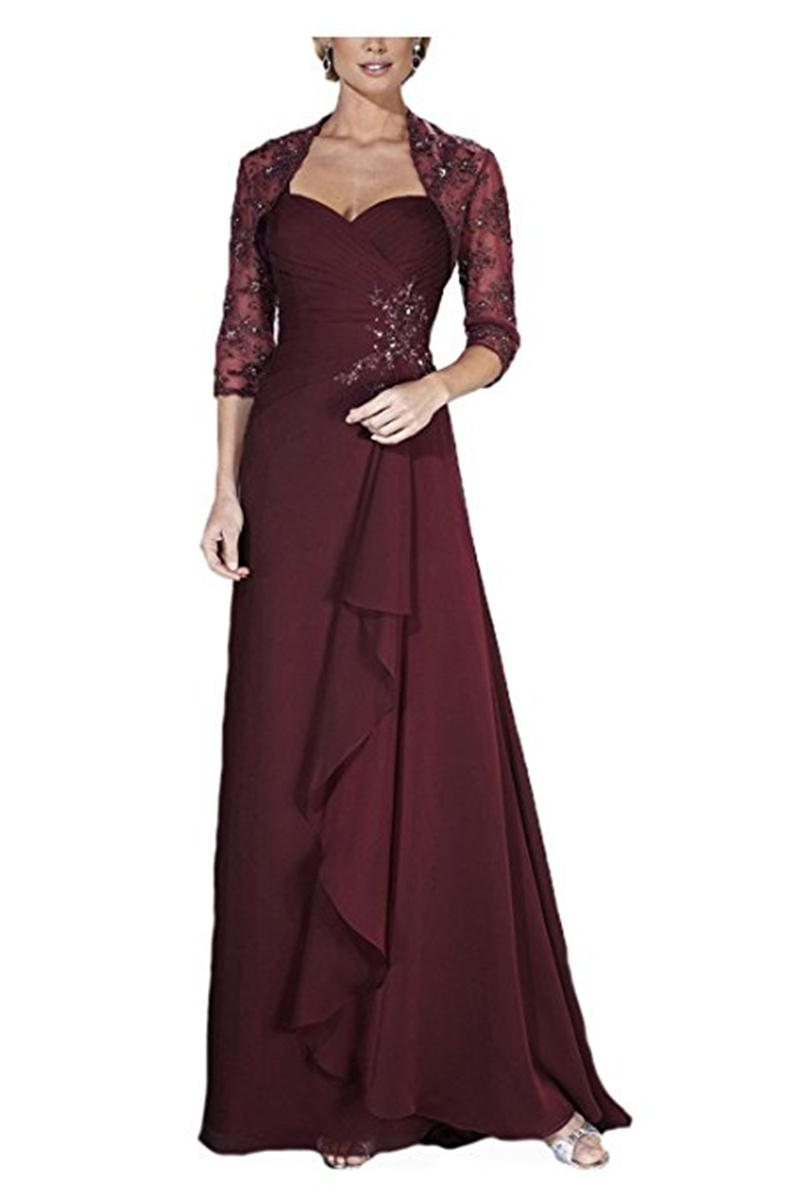 In stock chiffon mother of the bride dresses with jacket for Cocktail dress with jacket for wedding