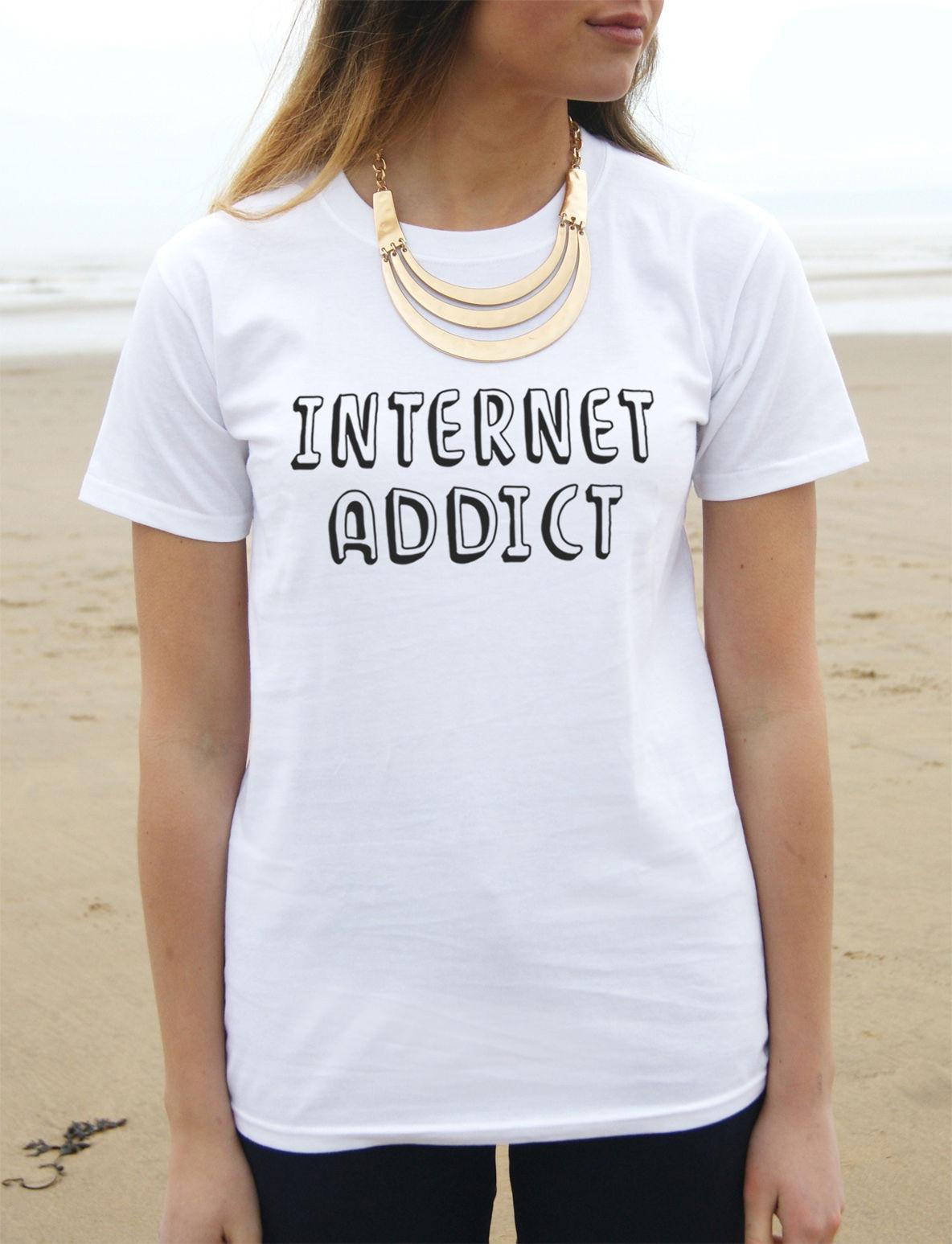 * INTERNET ADDICT T-shirt Top Tumblr Fashion Funny Slogan Hipster Wifi Love *