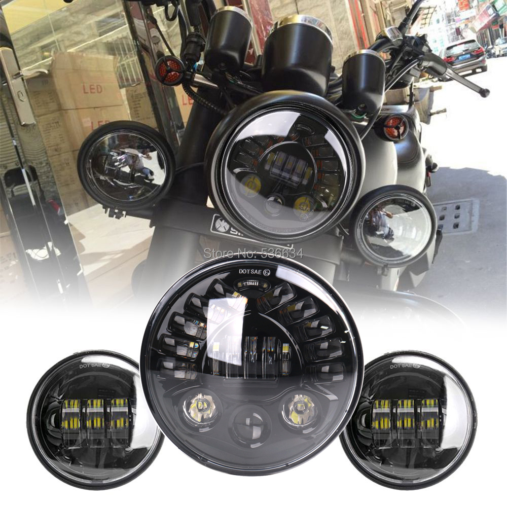 7Inch Round LED Projector Headlight Hi/Low DRL Turn Matching 4.5Inch LED Passing Lamps Fog Lights For Yamaha V star 650 Classic