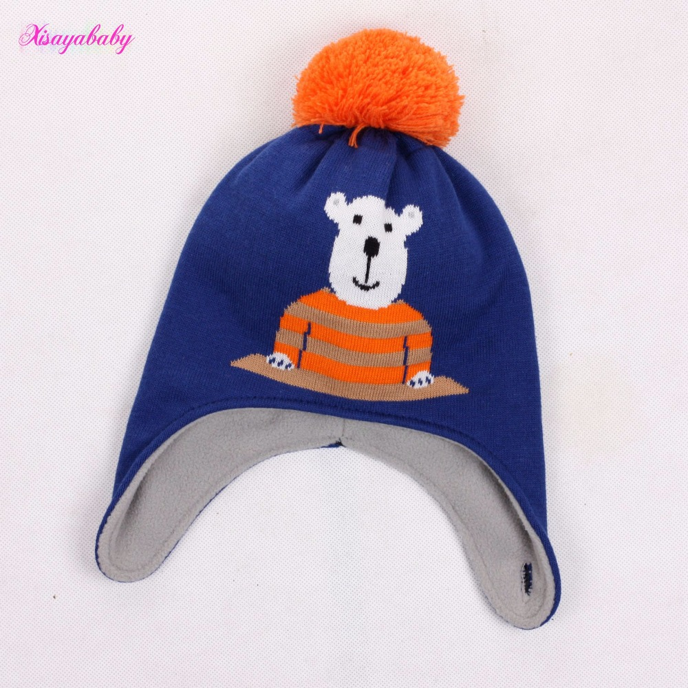 0-2T Children baby beanie hats Kids lovely blue bear gray rabbit Knitted caps Infant Soft cotton Spring Autumn Hats
