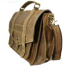 crazy hourse leather bag mad genuine cow leather  man briefcases flap hand tote messenger crossbody pocket many ineterior pocket