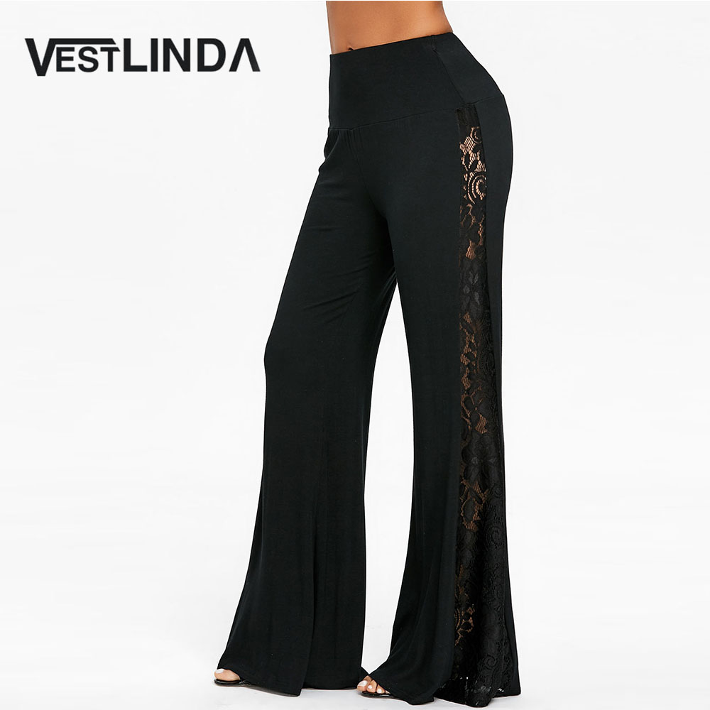 8450e4760f618 VESTLINDA High Waist Lace Panel Wide Leg Pants Women Trousers Fashion Casual  Black Overlength Wide Leg