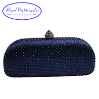 Elegante البحرية الأزرق الكريستال مربع حقيبة والمحافظ مخلب حجر الراين مساء حقائب
