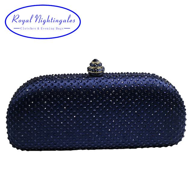 8bf601aec3 Elegante Navy Blue Crystal Box Clutch Bag and Purses Rhinestone Evening Bags