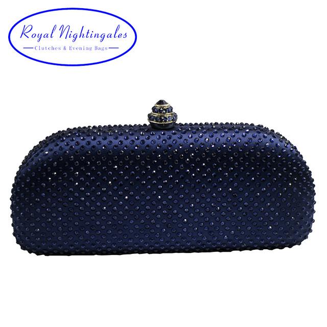 Elegante Navy Blue Crystal Box Clutch Bag and Purses Rhinestone Evening Bags