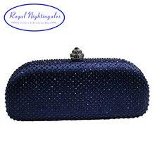 Elegante Navy Blue Crystal Box Clutch Bag en Portemonnees Rhinestone Avondtassen