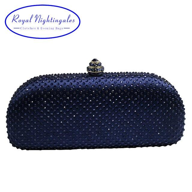 Elegante น้ำเงินคริสตัลกล่องกระเป๋าคลัทช์และกระเป๋า Rhinestone กระเป๋า