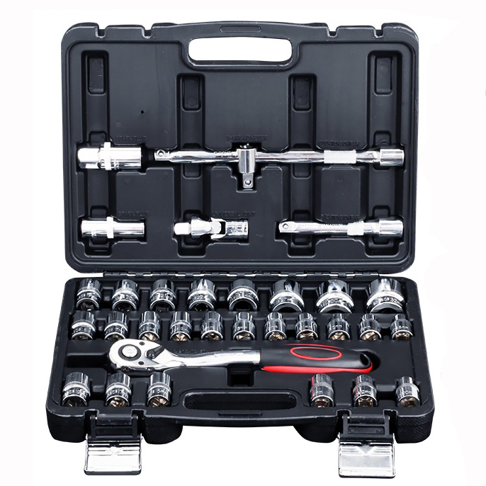 32 Pcs Ratchet Handle Wrench Spanner Socket Set 1/2 Car Repair Tool Socket Ratchet Wrench Screw Set Hand Combination Tool Kit 32 pc spanner socket set 1 2 1 4 3 8 car motor repair tool ratchet wrench set cr v hand tools combination bit set tool kit
