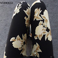 Nueva Flor de Rose Impreso Leggings Moda Mujeres Sexy Señora Slim Alto Algodón Elástico Pantalones de Múltiples Colores y Estilos En Stock