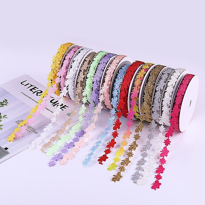 5 metre 1.5cm kelebek el yapımı dantel şerit kumaş dantel süslemeler dikiş aksesuarları için düğün dekorasyon DIY zanaat malzemeleri