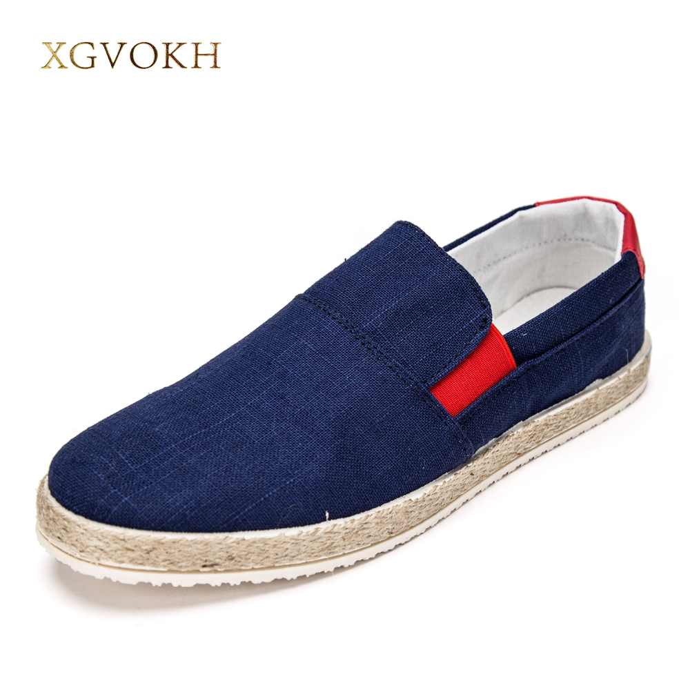 XGVOKH New 2017 Canvas Casual Men Shoes Fashion Men Summer slip on breathable straw braid Shoes For Men Zapatos Hombre