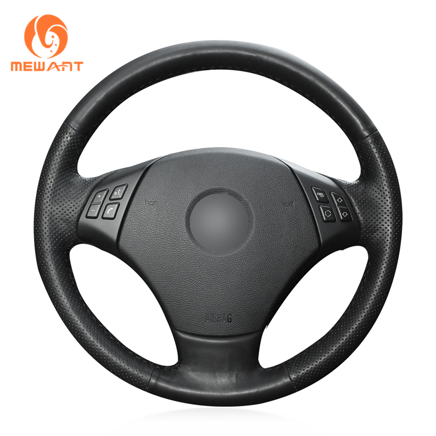 MEWANT Black Genuine Leather Car Steering Wheel Cover for BMW E90 320 318i 320i 325i 330i 320d X1 328xi 2007 mewant black artificial leather car steering wheel cover for bmw f30 316i 320i 328i