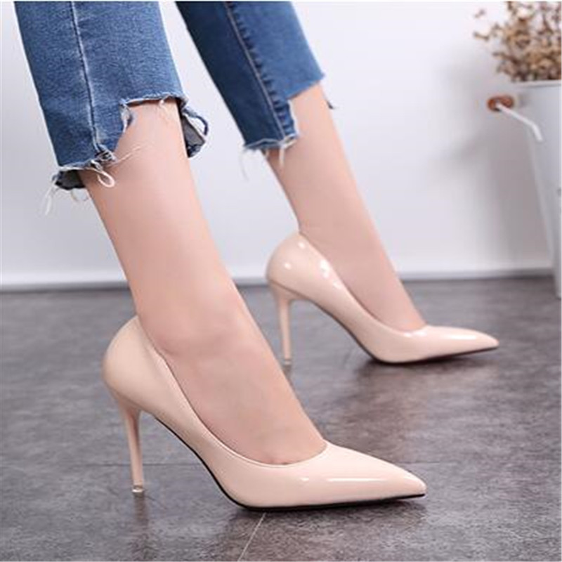 Women Shoes High-Heels Pumps Pointed-Toe 10CM Patent Shadow Red Dress Boat Zapatos-Mujer