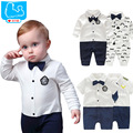 Original Cute Baby Boy Rompers Gentleman Style Newborn Baby Cotton Jumpsuits Bowknot Beard Print Infant Baby Romper For GIrls
