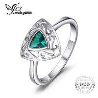 JewelryPalace 새로운 0.4ct 삼각형 에메랄드 솔리테어 약혼 반지 여성 925 스털링 실버 조각 빈티
