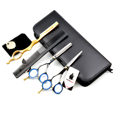5%OFF 5.5 in professional Japanese 440C Left Handed hairdressing scissors set cutting scissor thinning shears Hair clipper kit