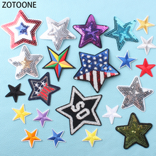 ZOTOONE Wild Stars Iron on Patches Clothing Sequin Appliques for Clothes Embroidered DIY Decorations T-shirts Bags