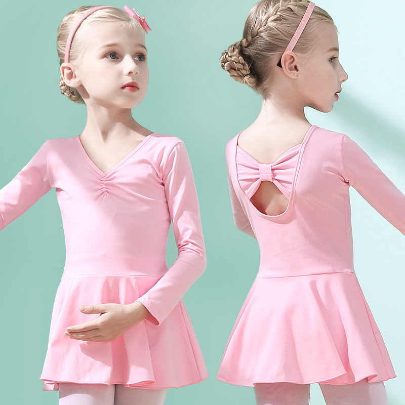Ballet Gymnastics Leotards Body Suit Dance Dress Toddler Girls Ballet With Chiffon Skirts Costumes Acrobatics Dance Wear Clothes