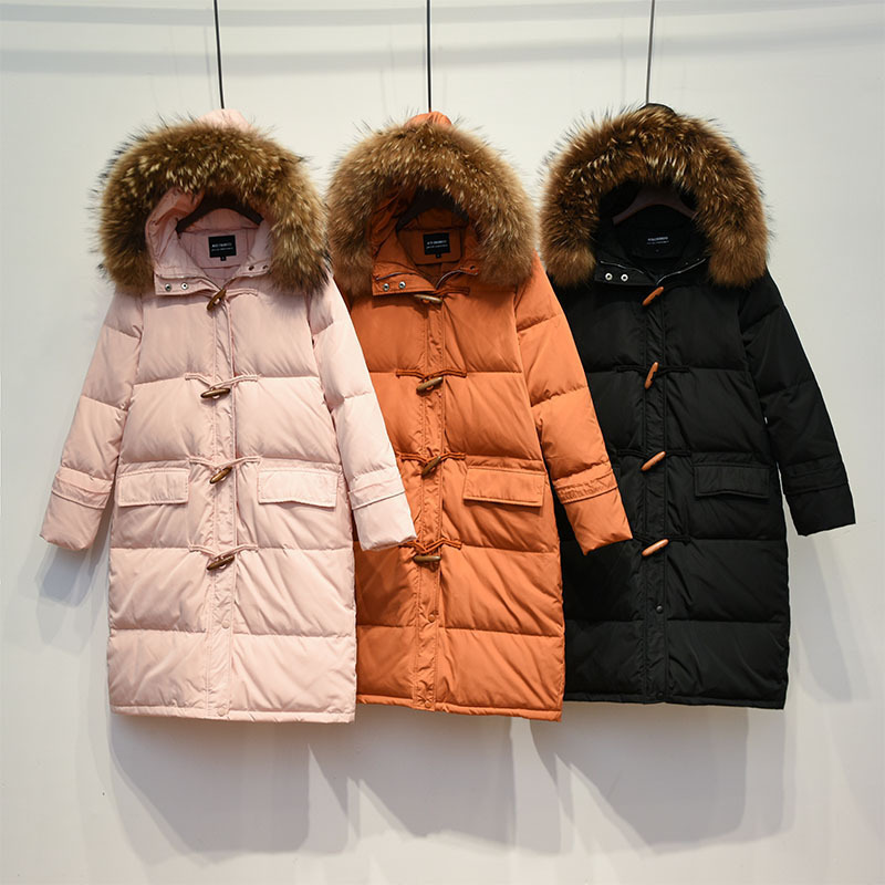 2018 Winter New Horn Button Thicken Womens Down Jackets Natural Raccoon Fur Casual Loose Down Coat Female Long Outerwears