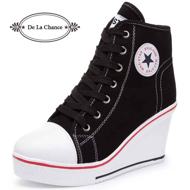 DE LA CHANCE Women Shoes Hidden Wedge Invisible Heel Shoes 2018 Women  Casual Shoes Canvas High Top Breathable Platform Sneakers a8846fe7e3ea