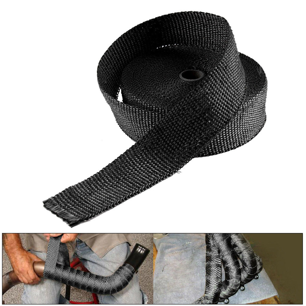 1 Roll 5/10/15m Titanium Exhaust Heat Wrap Roll for Motorcycle Fiberglass Heat Shield Tape with Stainless Ties
