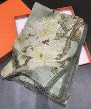 Magnolia Chiffon Silk Scarf Women Large Square Female Scarves Handmade Hemming Curling 140*140cm Shawls Wraps