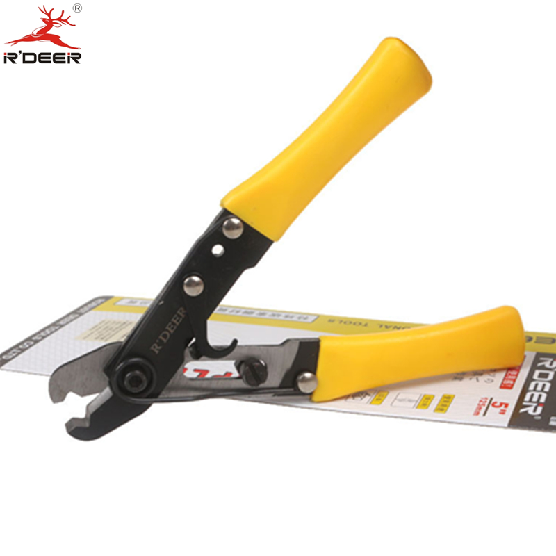 RDEER 5''/125mm Single Hole Wire Stripper Adjustable Thicken Cutting Pliers Crimping Tool Durable Hand Tools newacalox multifunction self adjustable terminal tool kit wire stripper crimping pliers wire crimp screwdriver with tool bag