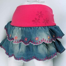 Kid girl  children's flowers sequins and jean embroidery denim skirt  Free shipping!  2015  (MH2245) цены онлайн