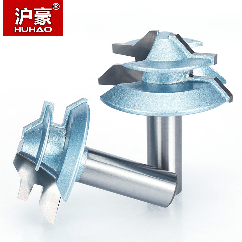 """HUHAO 1pc 1/2"""" Shank Router Bits For Wood 45 And 90 Degree Corner Splicing Combination CNC Cutter Woodworking Tool"""