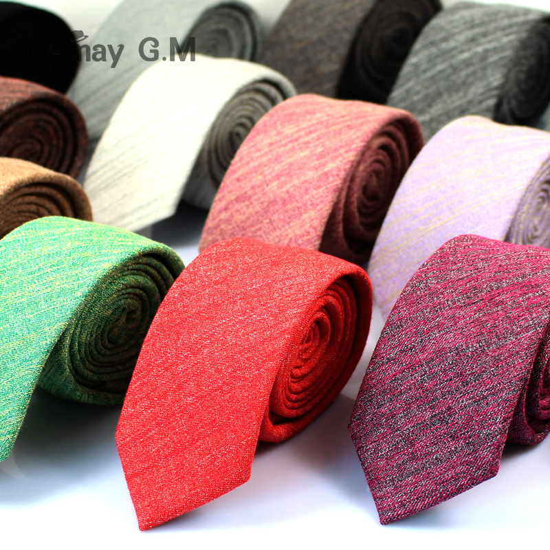 Fashion Casual Cotton Solid Mens Ties For Men 6CM Width Narrow Wedding Business Groons Necktie Fresh Neck Tie Neckwear