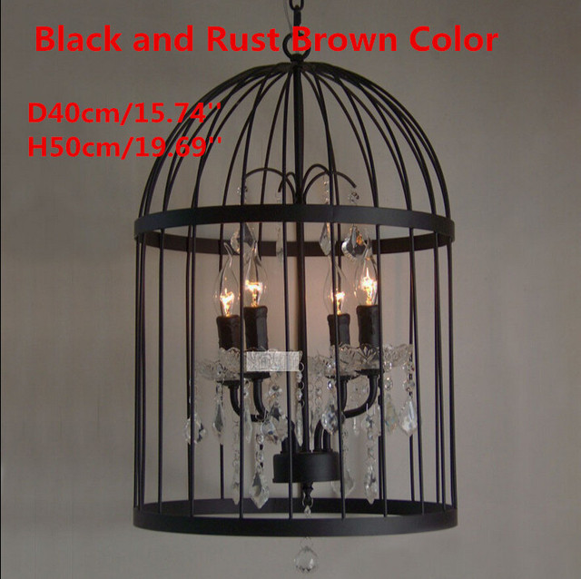 Nordic birdcage crystal pendant light iron lampshade home decoration nordic birdcage crystal pendant light iron lampshade home decoration american country vintage industrial coffee bar lamp aloadofball Image collections
