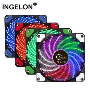 Image 1 - 10 adet/1 adet taşınabilir buzdolabı 12cm Bilgisayar Soğutucu Fan 16dB Ultra Sessiz 15 LEDs PC Oyun Hava Akımı fanlar 2in1 Kablo Soğuk Soğutucu