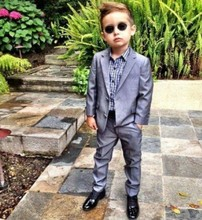 2016 High Quality Dark Silver Kids Tuxedo Suits (Jacket+ Pants ) Cheap Boys Wedding Suits Cute Formal Occasion Clothing