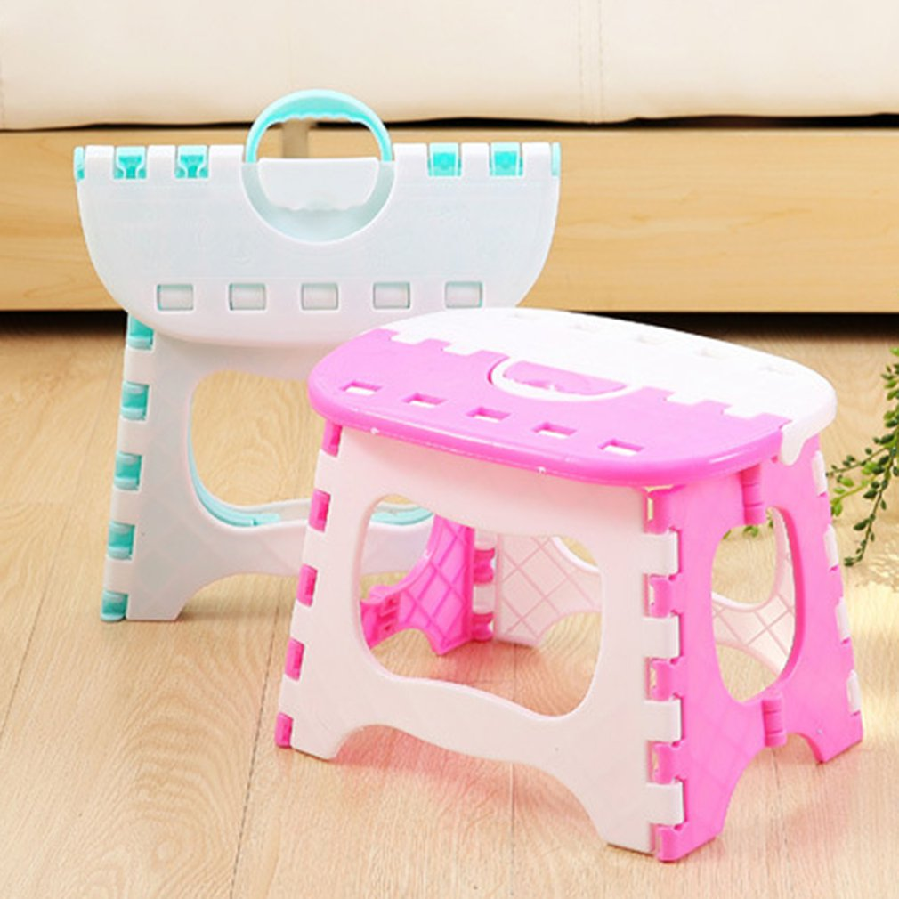Portable Folding Step Stool With Anti-slip Surface For Kids And Adults With Handle Plastic Stool Color Matching StoolPortable Folding Step Stool With Anti-slip Surface For Kids And Adults With Handle Plastic Stool Color Matching Stool