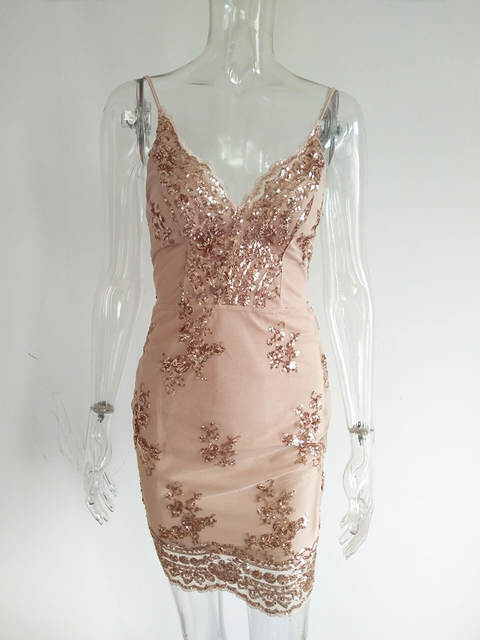 Bonnie Forest 2018 Summer Mini Dress Womens Sexy Gold Sequin Dress  Champagne Twinkle Sequin Overlay Dress 55cfdb739b07