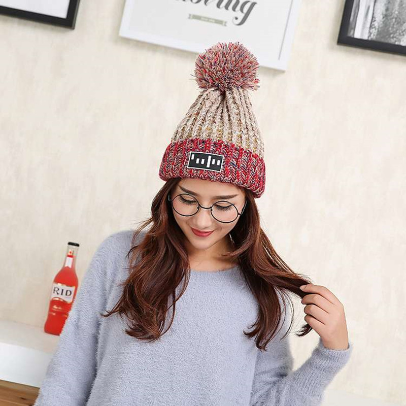 2017 New High Quality Skullies Beanies Classic Plus Velvet Knit Hat Female Cap Winter Hat  Women Beanie Headgear Warm skullies