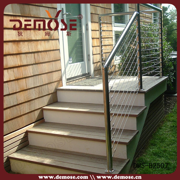 Exterior Cable Railing Stair Post For Front Step