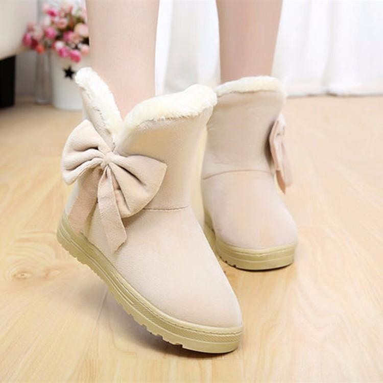 Women Snow Boots 2016 Warm Solid Plus Velvet Flat Women Boots Winter Bowtie Casual Shoes Round Toe Wild Ladies Shoes SNF905 (7)