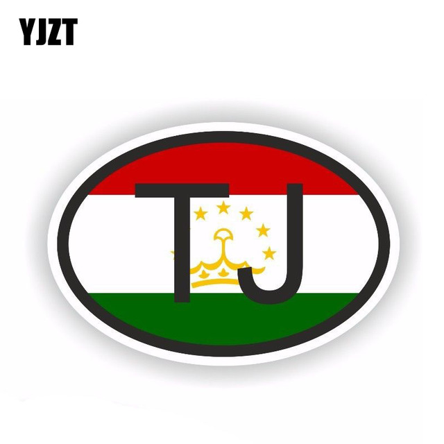 YJZT 12.2CM*8.1CM Car Sticker Country Code TAJIKISTAN Small Oval Car Styling 6 0509