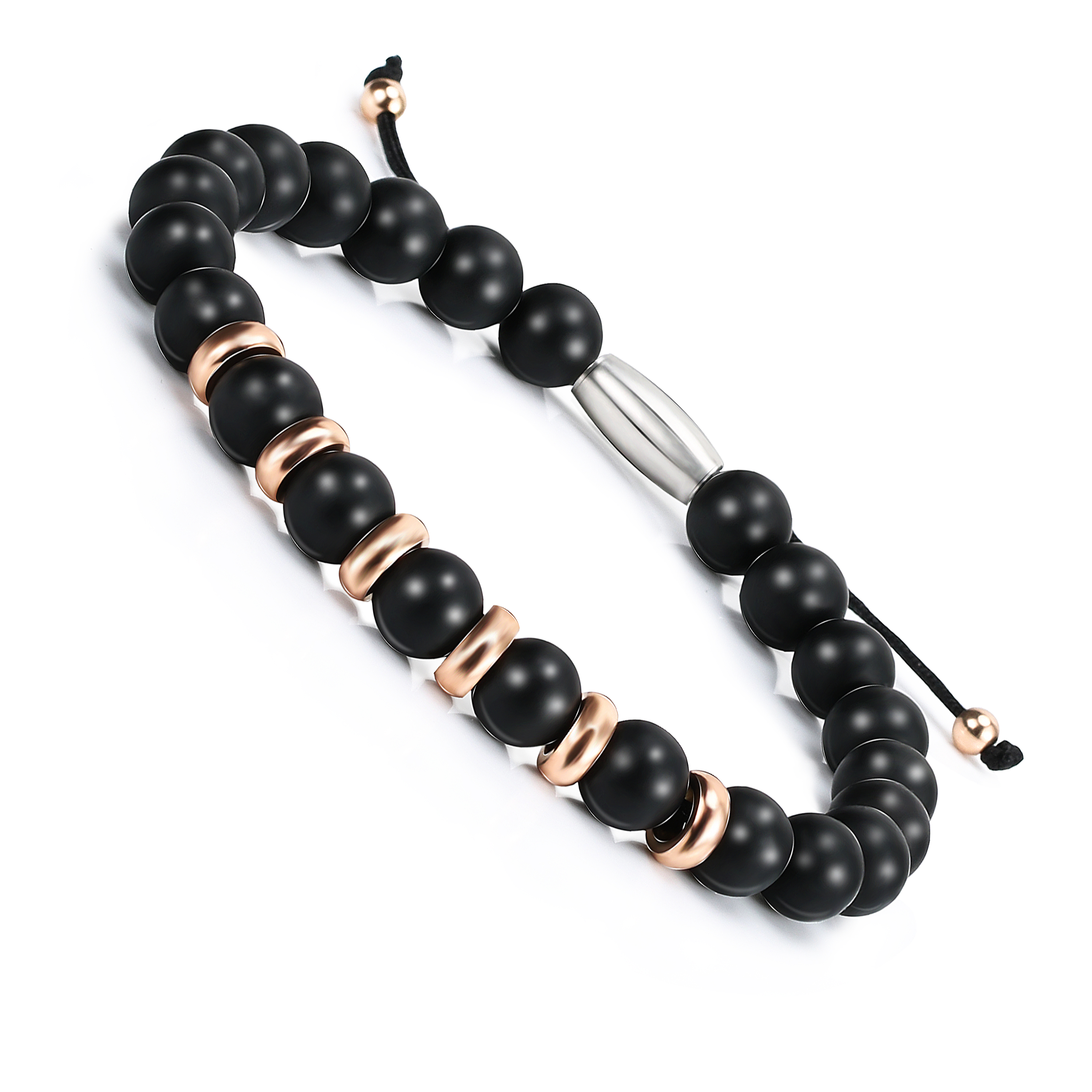 Fashion Bracelet Men Natural Agates Black Onyx Beads for Women&Mens Stainless Steel Charm Jewelry