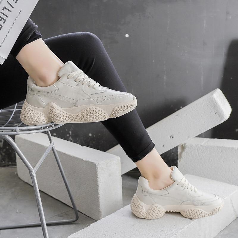 Cuir Zapatos Chaussures white creamy Printemps Femme Sneakers De forme Patchwork En Dames Plate Femmes 2019 Beige Nouveau Chunky Réel Mujer XHrpvX