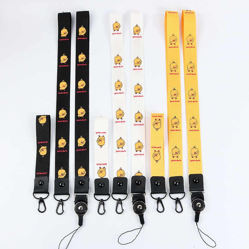 Pato amarelo pequeno chaveiro cadeia de telefone celular pendurado corda corda para homens e mulheres personalizados criativo destacável grande anti- perda
