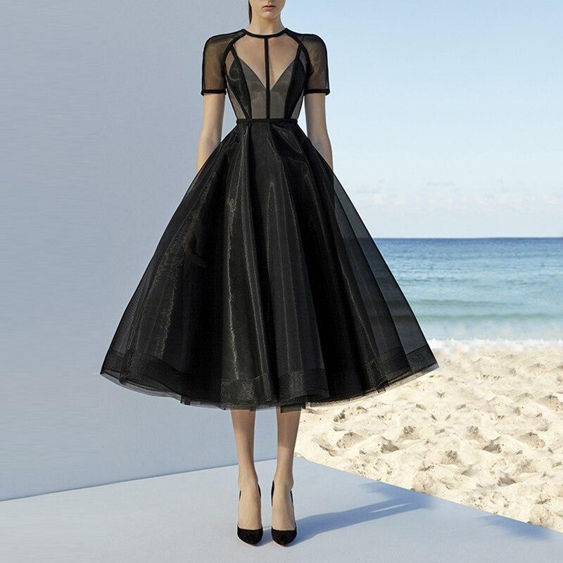 951da27a5348c High Quality Organza O-Neck Short Sleeves Tea Length Transparent Ball Gown  Prom Party Dresses