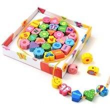 36 pcs Préscolaire En Bois Éducatifs Puzzle Jouets pour Enfants Enfants Bois chaîne perles Anglais Numéro Numérique Assorti Plaque W003
