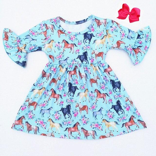 베스트 셀러 가을/말 인쇄 짧은 소매 드레스 빈티지 소녀 우유 실크 드레스 10 대 소녀 일치 액세서리