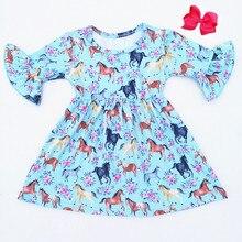 Najlepiej sprzedający się jesień/konia druku z krótkim rękawem sukienki w stylu vintage dziewczyny mleka jedwabne sukienki dla nastoletnich dziewcząt mecz akcesoria