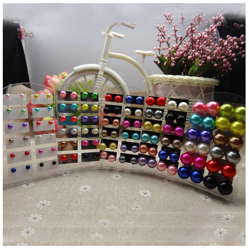 New 2016 Ball Earrings for women mix color 12 paris one pack stud earrings for ladies casual pendant earrings pearl earrings
