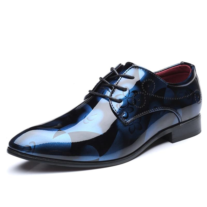 Bout Cuir Bleu De La Robe Hommes Zapatos 48 D'affaires rouge Mariage Formelle Pointu jaune Chaussures En Taille Plus gris Pour Brevet Oxford 8wxv5ypU